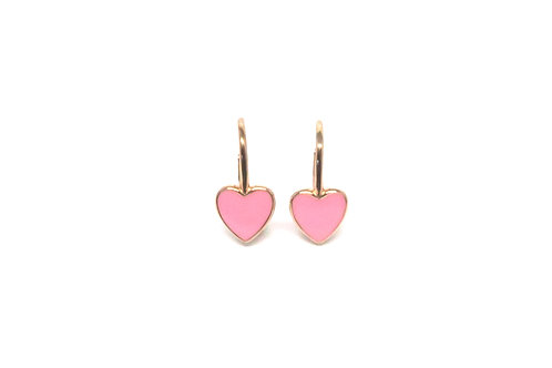 "Boucles d'oreille ""heart"" émaillées rosesplaquéor rose"