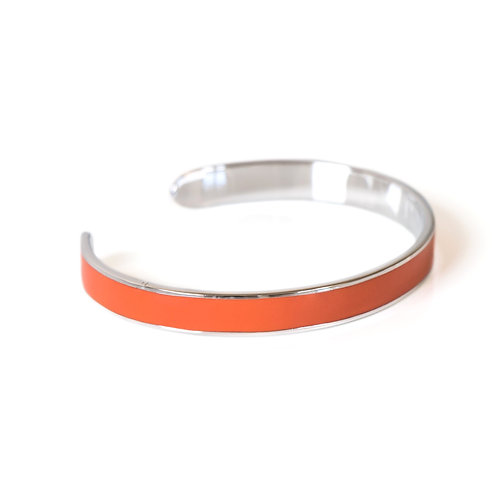 """Bracelet """"Jonc"""" émaillé orange corail"""