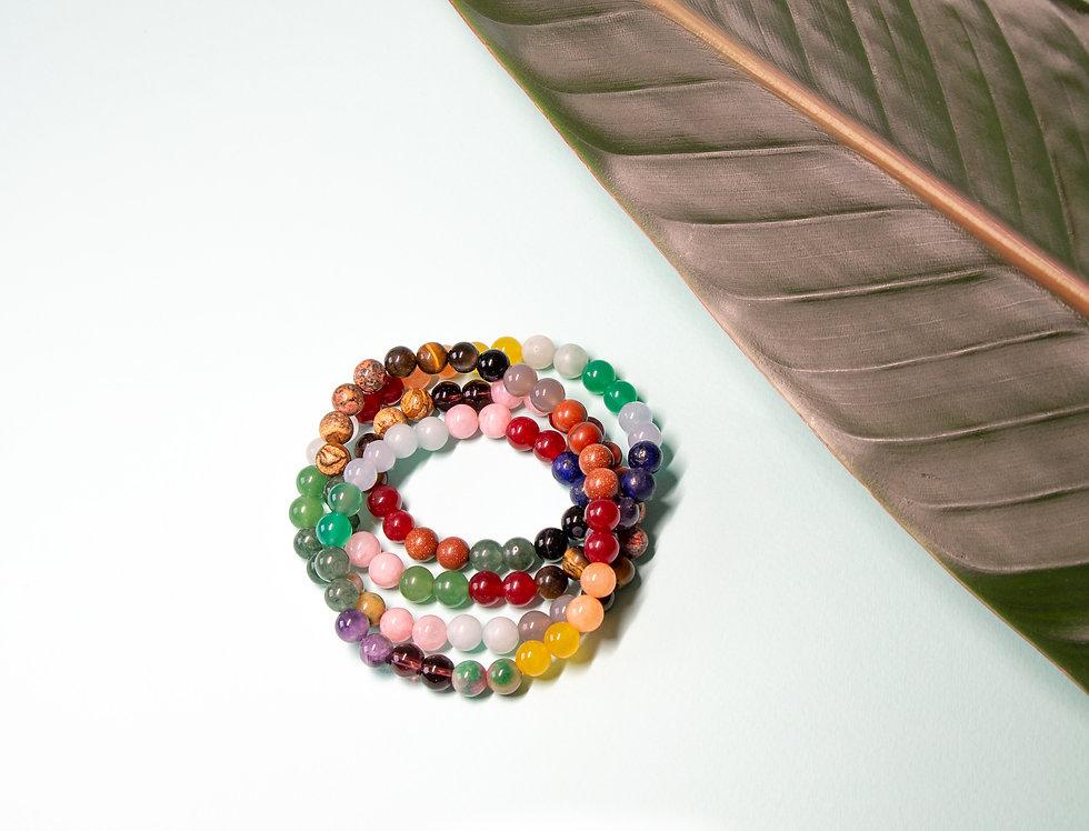 """Bracelet """"Chakra"""" pierres colorées"""