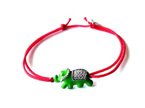 """Bracelet """"Elephant"""" vert en argent 925"""