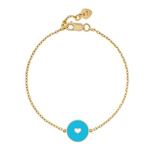 Bracelet émaillé «coeur » réversible turquoise / gris