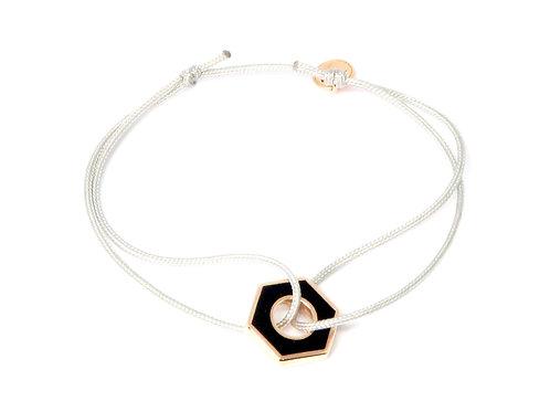 """Bracelet collection """"Ecrou""""  noir / blanc plaqué or rose"""