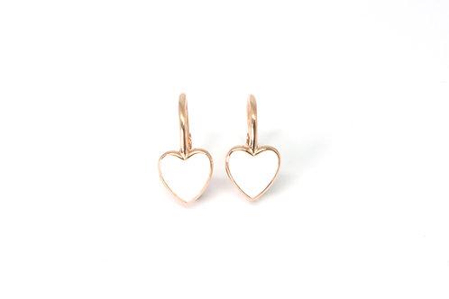"Boucles d'oreille ""heart"" émaillées blanchesplaquéor rose"