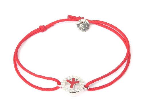"""Bracelet émaillé collection """"Peace & Love"""" réversible rouge / turquoise"""