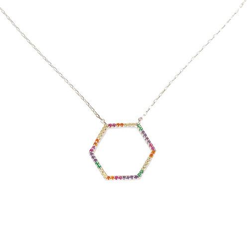 "Collier serti collection ""hexagone"" en argent 925"