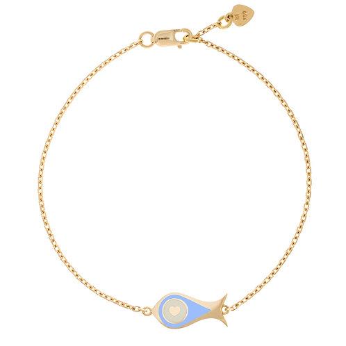 """Bracelet """"Poisson"""" émaillé bleu lavande"""