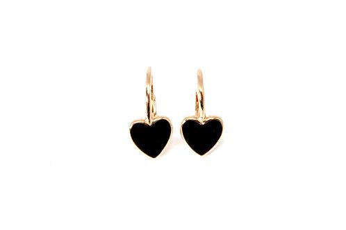 """Boucles d'oreille """"heart"""" émaillées noires plaquéor rose"""