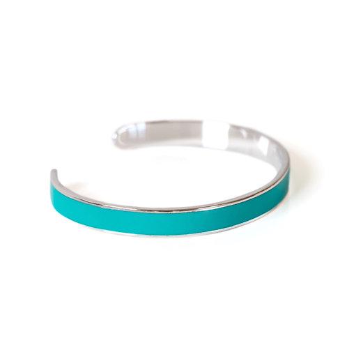 """Bracelet """"Jonc"""" émaillé vert turquoise"""