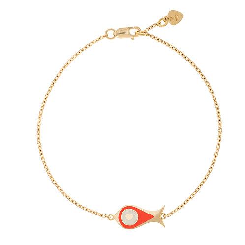 """Bracelet """"Poisson"""" émaillé rouge"""