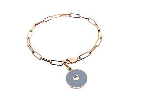 Bracelet émaillé « coeur » sur chaîne rectangulaire