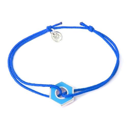 """Bracelet """"Ecrou reverse""""  turquoise et vert en argent"""