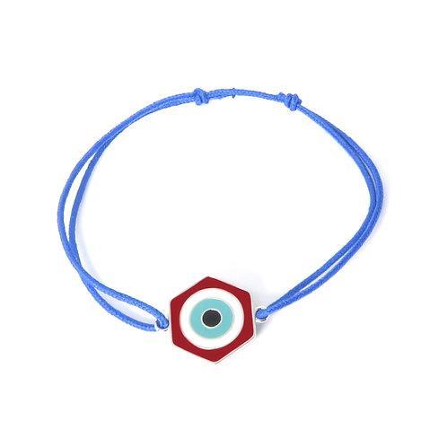 """Bracelet """"oeil"""" réversible en argent rouge / vert"""