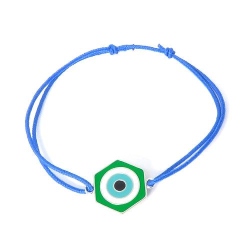 "Bracelet collection ""lucky Eye"" réversible en argent vert / bleu"