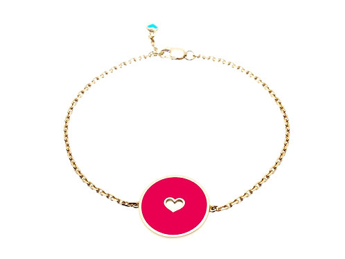 Bracelet émaillé « coeur reverse» sur chaîne