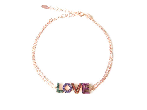 "Bracelet serti collection ""Love"" en argent 925 plaqué or rose"