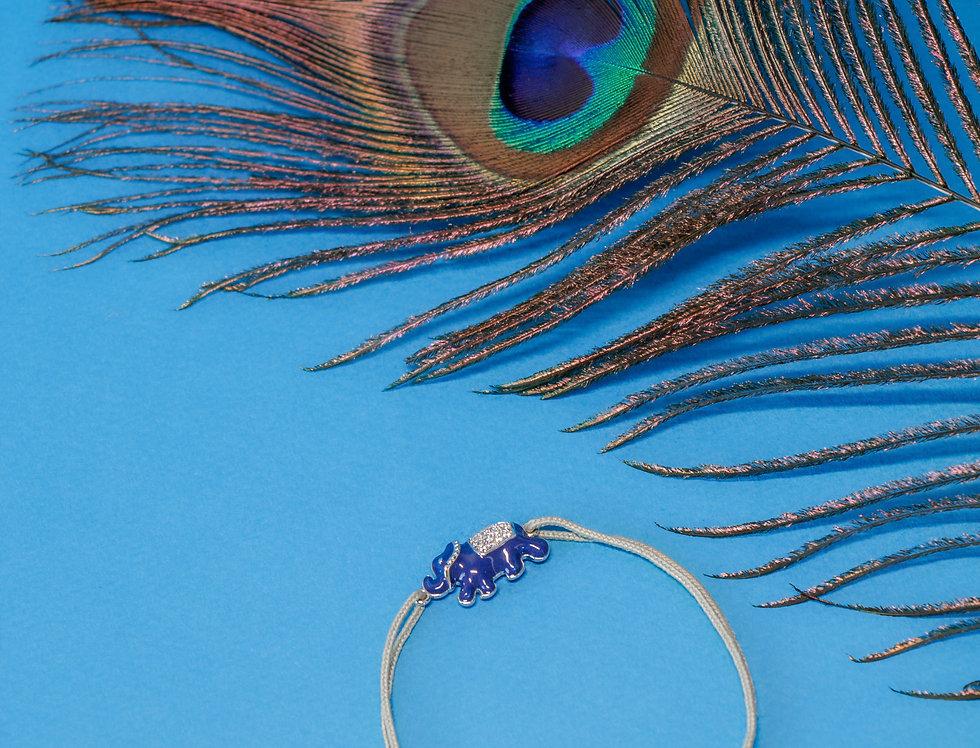 Bracelet éléphant émaillé bleu