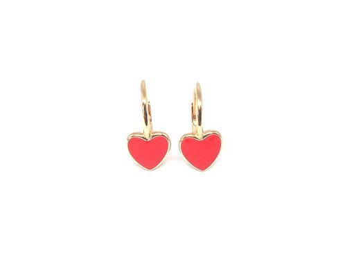 """Boucles d'oreille """"heart"""" émaillées rougesplaquéor rose"""