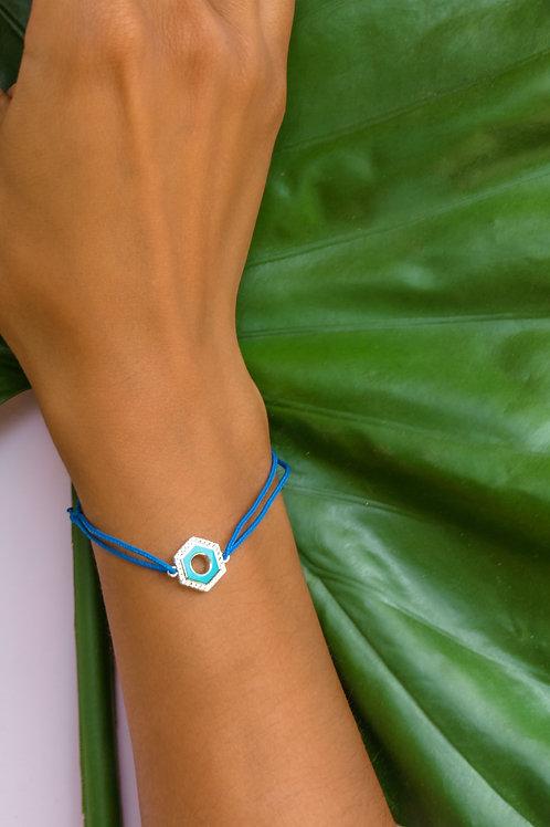"""Bracelet émaillé réversible serti """"Ecrou"""" bleu turquoise"""