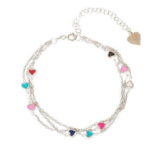 """Bracelet """"coeurs colorés"""" en argent 925"""