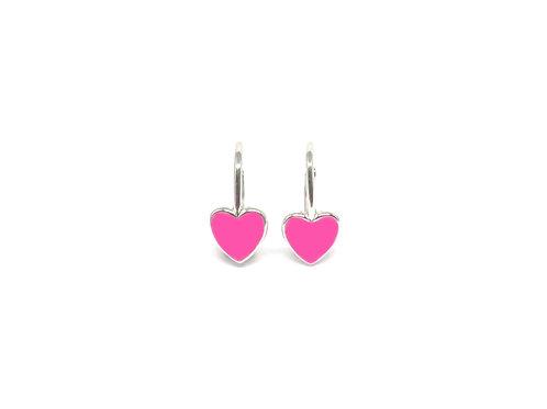 """Boucles d'oreille """"heart"""" émaillées rose fluoplaquéor rose"""