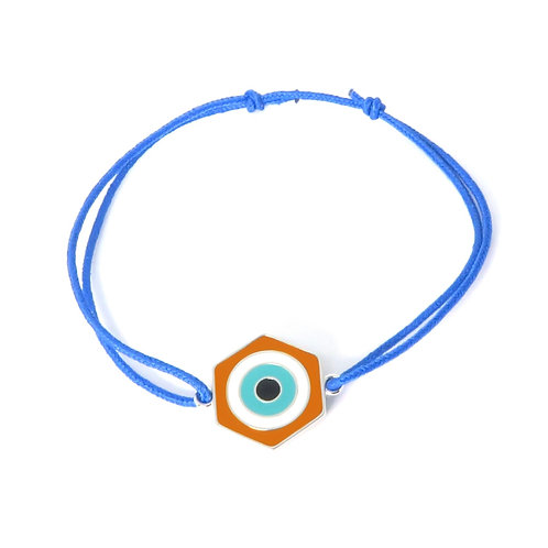 "Bracelet ""oeil"" réversible en argent orange / kaki"