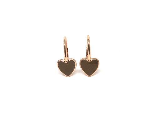 """Boucles d'oreille """"heart"""" émaillées marrons plaquéor rose"""