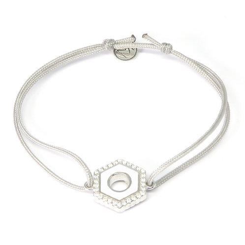 """Bracelet émaillé réversible serti """"Ecrou"""" blanc et bordeau"""