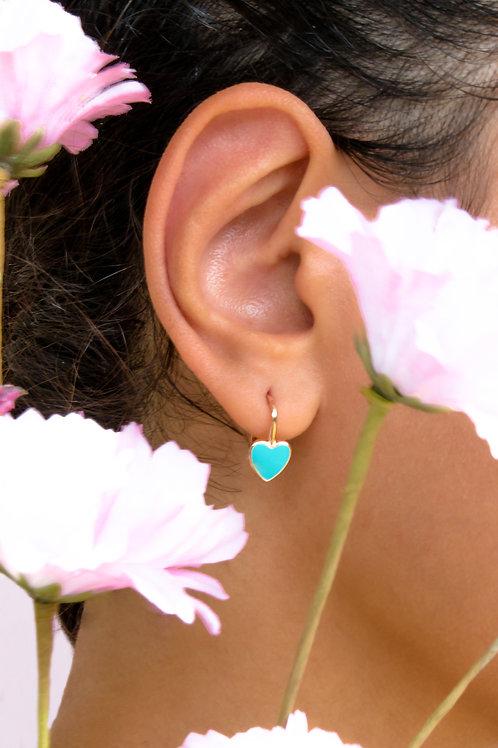 """Boucles d'oreille """"heart"""" émaillées turquoises plaquéor rose"""