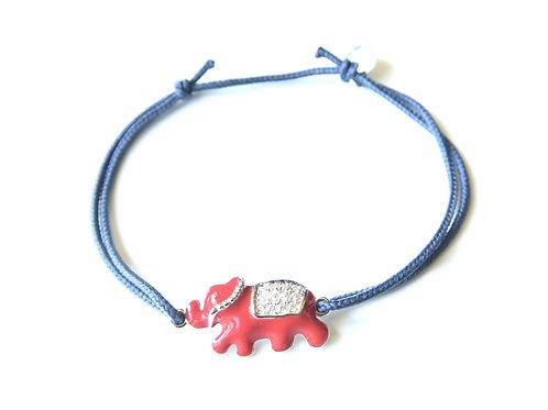 """Bracelet """"Eléphant"""" rouge en argent 925"""