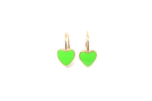 """Boucles d'oreille collection """"heart"""" émaillées vertes plaqué or rose"""