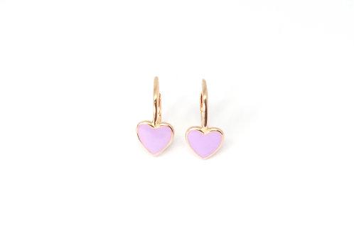 """Boucles d'oreille """"heart"""" émaillées mauvesplaquéor rose"""