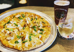 Pizza, beer and wine