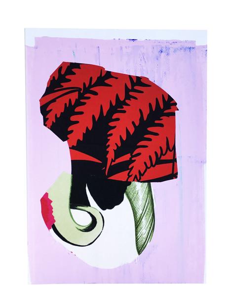"Gouache, textiles  16"" x 12"""