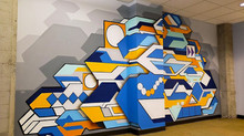 Transforming an office setting with a contemporary abstract mural