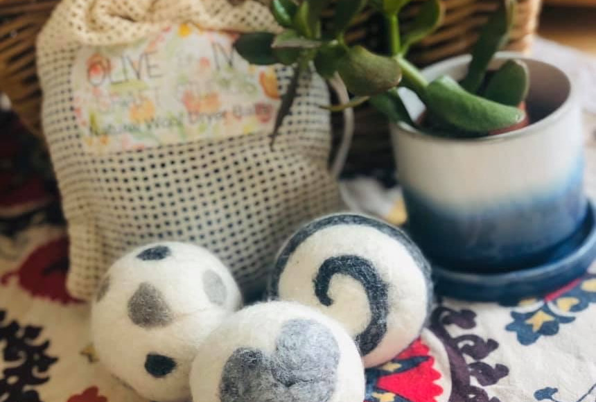 Our natural handmade dryer balls