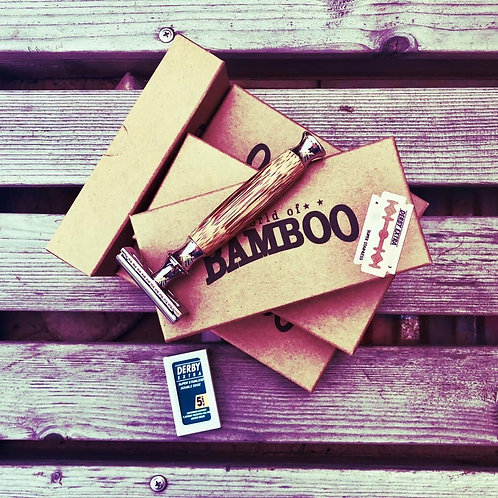 Double Edge Stainless Steel & Bamboo Safety Razor + 5 FREE blades