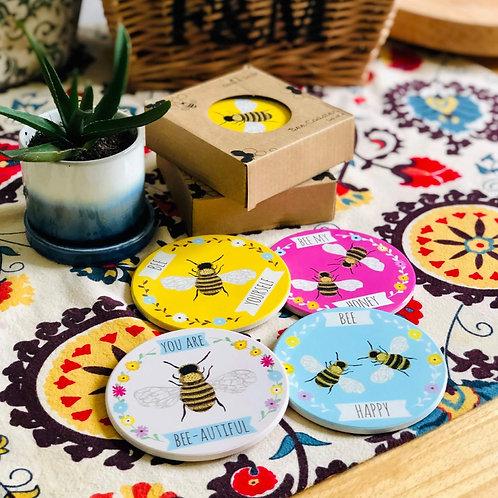 Set of 4 Ceramic & Cork Bee Coasters