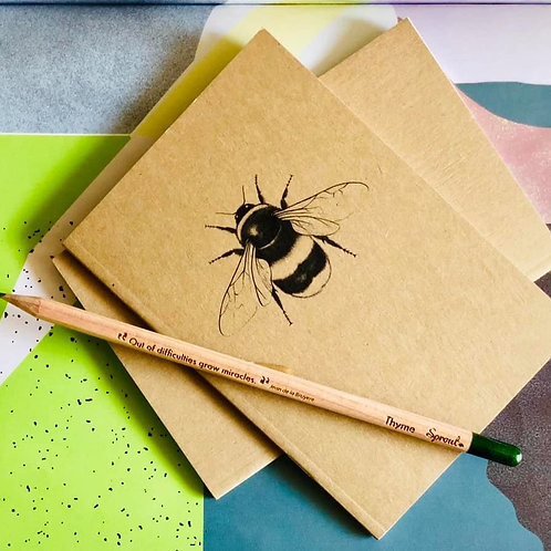 Recycled Paper A6 Bee Print Notebook