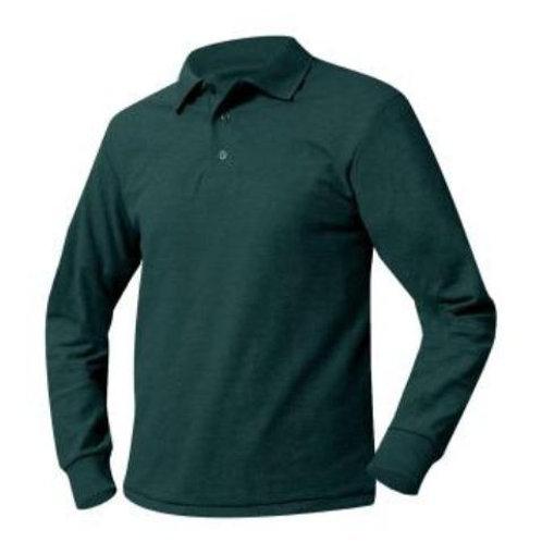 Unisex Long Sleeve Green Polo with Logo