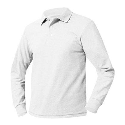 Unisex Long Sleeve White Polo with Logo