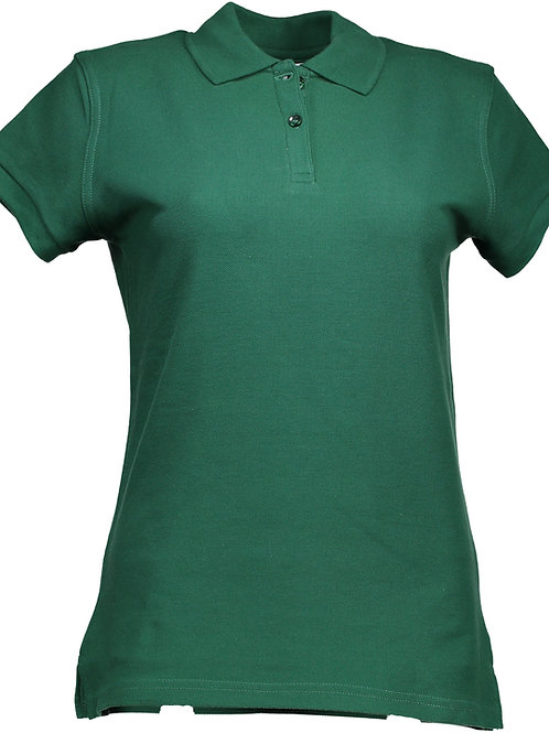Girls Short Sleeve Green Polo (Capped Sleeve) with LOGO
