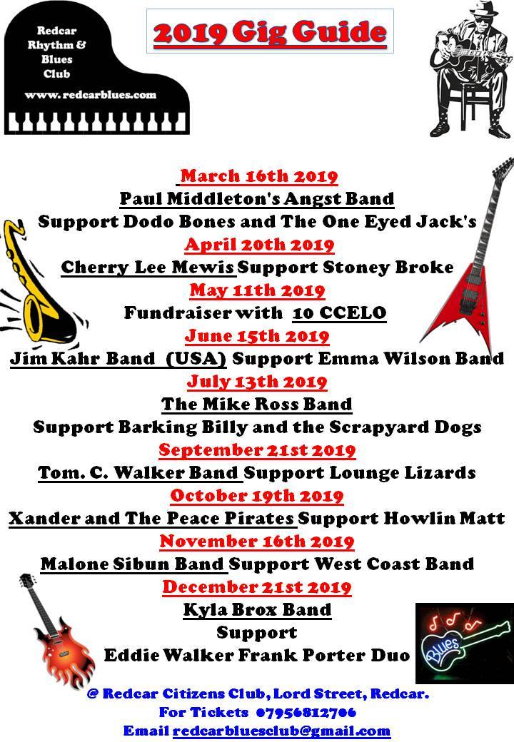 Redcar Blues Club gig guide