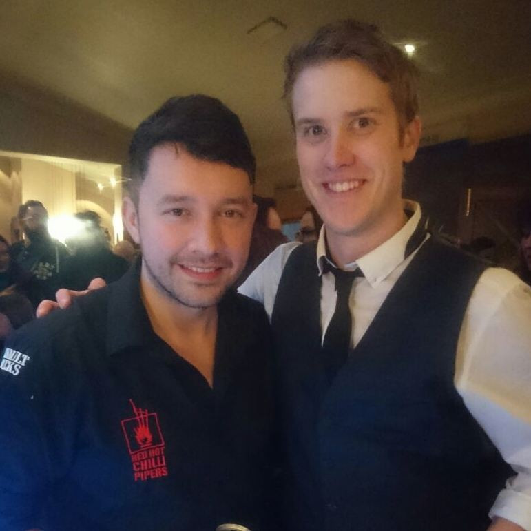 With Bassist Alan McGeoch of the Red Hot Chilli Pipers