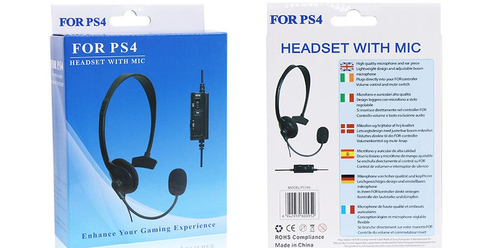 Wired headset for PS4 with mic