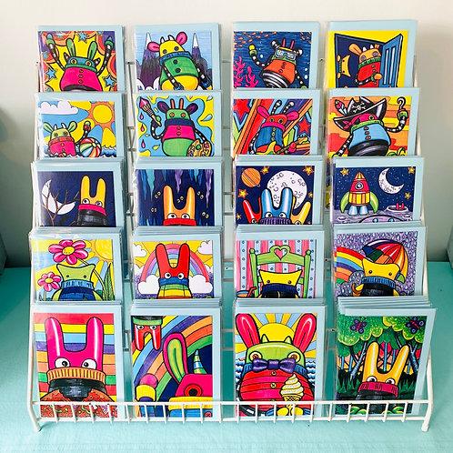 Sock Monster Greeting Cards - pack of 5