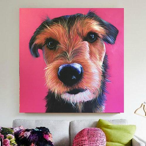 Pet Portrait on 90cm square canvas