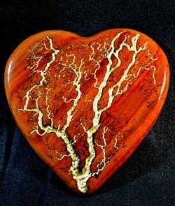 Padauk Heart with Gold Leaf Inlay