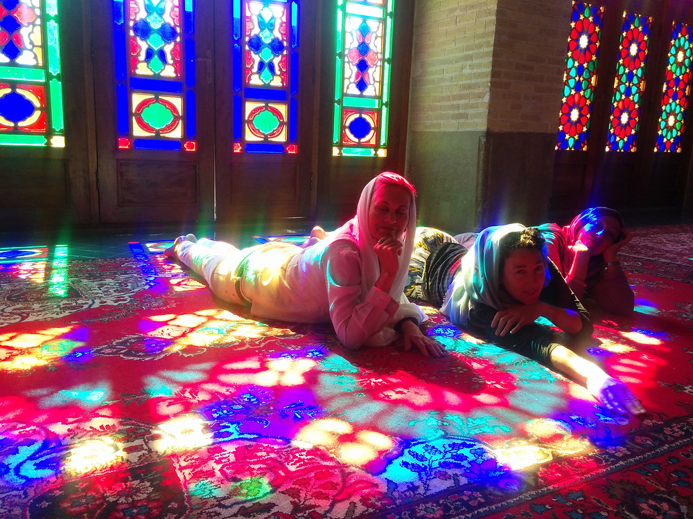 Lounging in Shiraz mosque October 2016