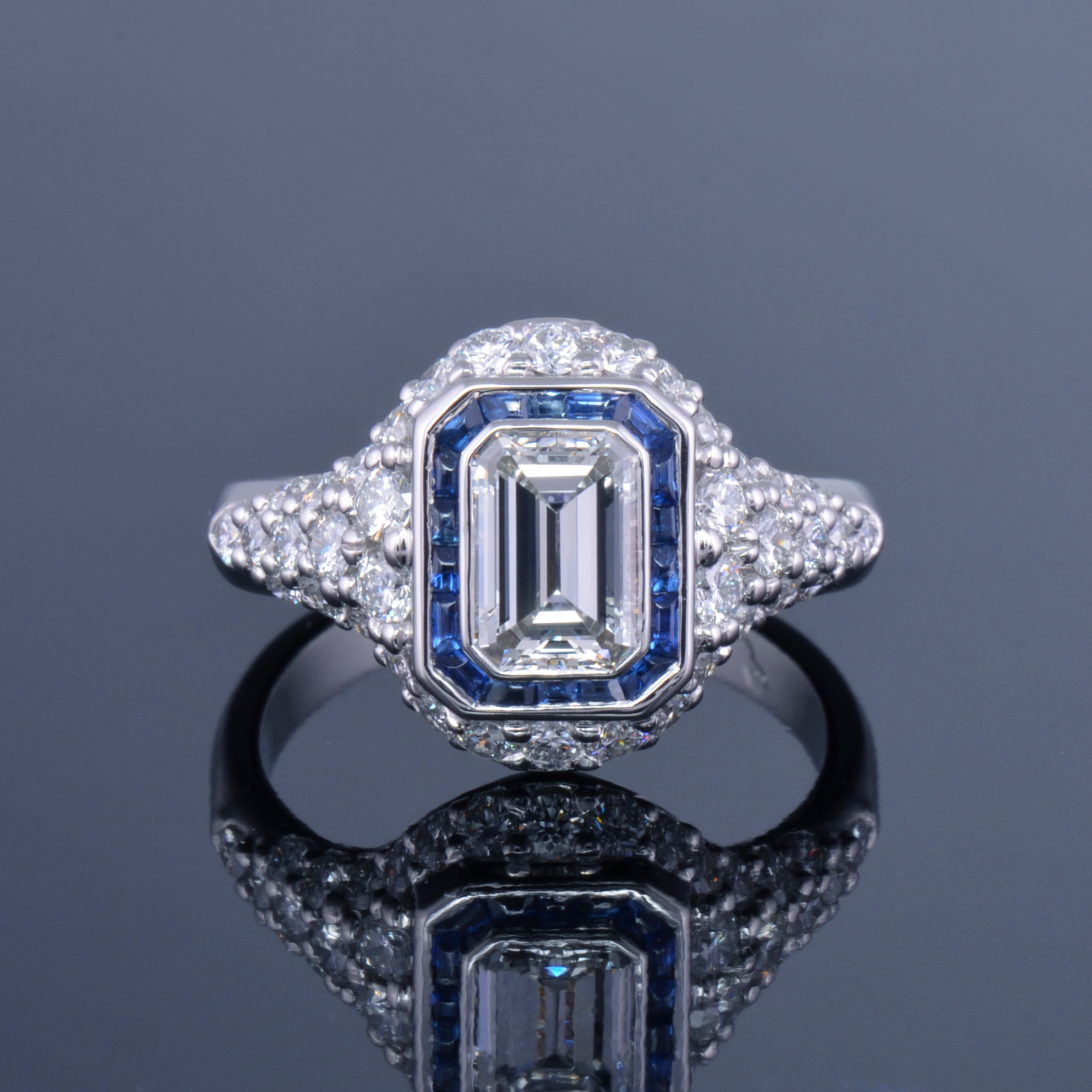diamond ring sapphire halo