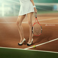 Tennis player in high heel shoes